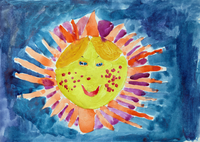 Children's drawing - the sun in the blue sky
