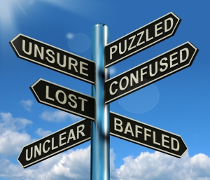 Puzzled Confused Lost Signpost Showing Puzzling Problem
